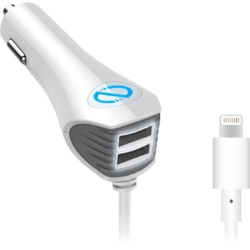 Picture of Naztech , N420 Wired Trio Car Charger with Lightning Connector - White