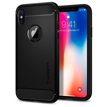 Picture of Spigen Rugged Armor Case for Apple iPhone X - Matte Black