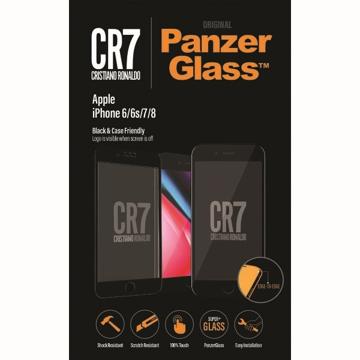 الصورة: بانزر جلاس ، حماية شاشة  زجاجية ، ميزة ظهور علامة CR7 عند إطفاء الشاشة  لأجهزة أبل آيفون 6,6S,7,8 - اسود