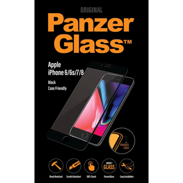 Picture of PanzerGlass Screen Protector, Case Friendly for Apple iPhone 6 / 6s / 7 / 8  - Black