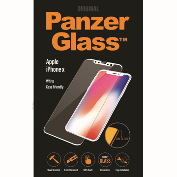 Picture of PanzerGlass Screen Protector, Edge-to-Edge, Case Friendly for Apple iPhone X - White