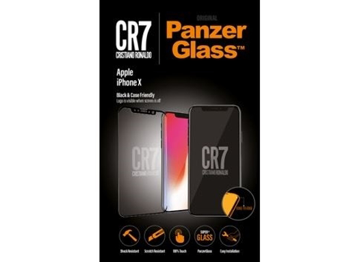 صورة بانزر جلاس ، حماية شاشة  زجاجية ، ميزة ظهور علامة CR7 عند إطفاء الشاشة  لأجهزة أبل آيفون X - شفاف