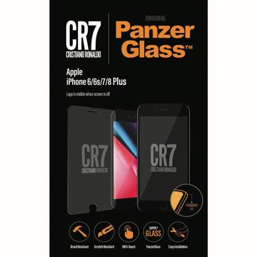 الصورة: بانزر جلاس ، حماية شاشة  زجاجية ، ميزة ظهور علامة CR7 عند إطفاء الشاشة  لأجهزة أبل آيفون 6/6s/7/8 بلس - شفاف