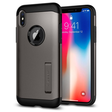 Picture of Spigen Case Slim Armor with Stand for iPhone X - Gunmetal
