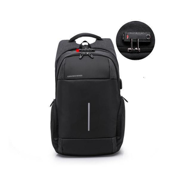 Picture of Bagpack men , waterproof smart anti-theft , USB charging - Black