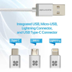 Picture of Promate Apple MFi 3-in-1 Cable with Lightning, Type-C, and Micro-USB - Silver