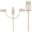 Picture of Promate Apple MFi 3-in-1 Cable with Lightning, Type-C, and Micro-USB - Gold