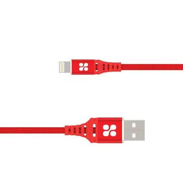 الصورة: بروميت كابل مقوى الترا سليم رفيع USB-A الى Lightning لاجهزة ابل بطول 1.2 متر - أحمر