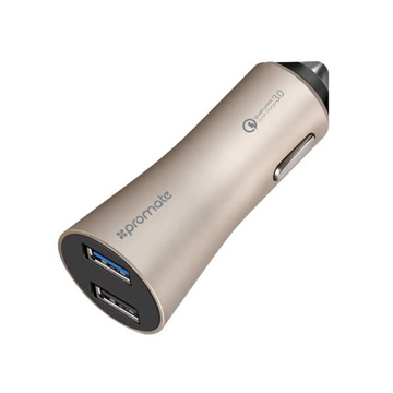 Picture of Promate Robust Car Charger with QC 3.0 Dual USB Port - Gold