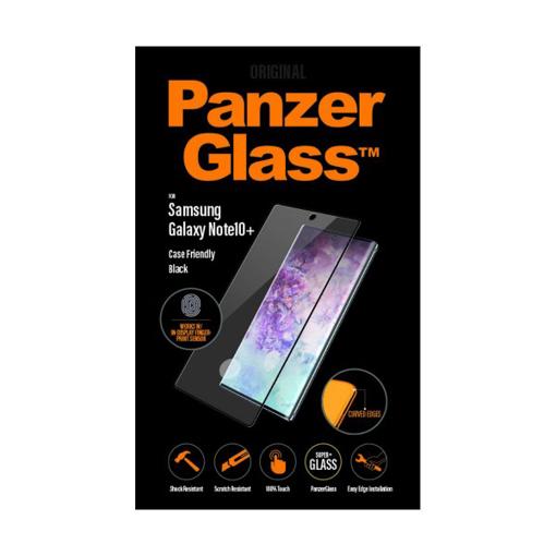 صورة بانزر جلاس حماية شاشة زجاجية متوافق مع الاغطية و البصمة لاجهزة سامونج Note 10+ - اسود