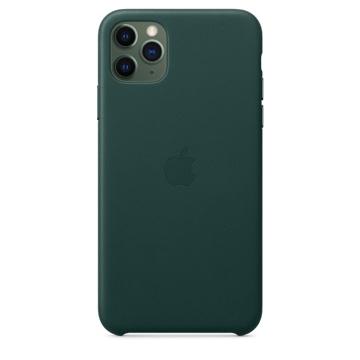 الصورة: ابل غطاء حماية خلفي جلد لاجهزة ابل iPhone 11 Pro Max - اخضر غامق