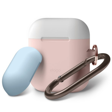 Picture of Elago Duo Hang Silicon Case For AirPods - Body-Pink / Top-White, Pastel Blue