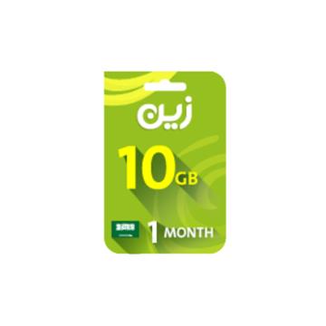 الصورة: بطاقة زين مسبقة الدفع لشحن الانترنت 10جيجا - لمدة شهر واحد
